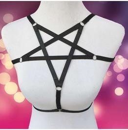 Black gothic pentagram star bra harness lingerie 5