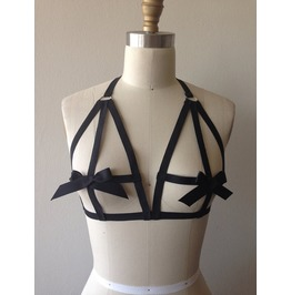 Black Gothic Elastic Ribbon Bra Harness Top