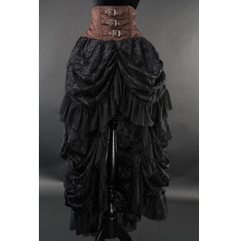 Brown Black High Waisted Victorian Goth Pirate Black Bustle Skirt $9 Ship