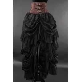 Brown Black High Waisted Victorian Goth Pirate Black Bustle Skirt $9 Ship