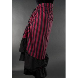 Red Black Striped 2 Layer Bustle Gothic Victorian Pirate Skirt $9 To Ship