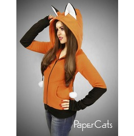 Hoodie Fox Orange Kawaii Nerd Cosplay Anime Ears