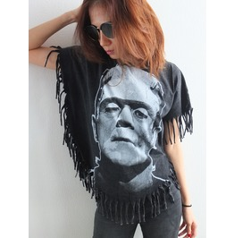 Frankenstein Fashion Poncho Fringes Pop Rock Stone Wash T Shirt M