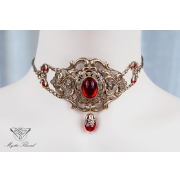Ruby Gem Elegant Victorian Choker, Please Select Neck Perimeter (Cm)