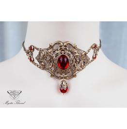Ruby Gem Elegant Victorian Choker, Please Select Neck Perimeter (Cm)