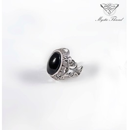 Jet Black Gem Victorian Ring