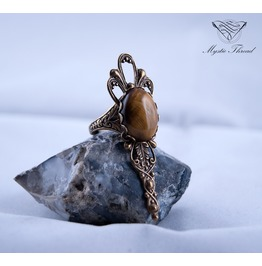 Tiger's Eye Gothic Victorian Ring