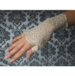 Pair Short Gloves, Beige Lace,Vampire,Victorian,Burlesque,Wedding,Steampunk