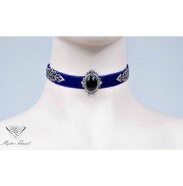 Purple Velvet Choker With Black Agate, Please Select Neck Perimeter(Cm)