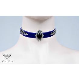 Purple Velvet Choker With Black Agate, Please Select Neck Perimeter(Cm)