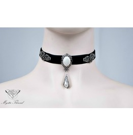 Black Velvet Choker With Pearlescent Gem Contact Me For Neck Cm