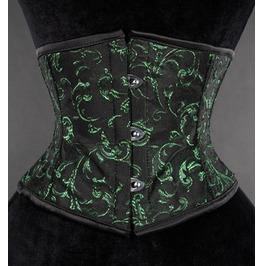 Steel Boned Black Green Floral Waist Cincher Corset $9 Worldwide Shipping