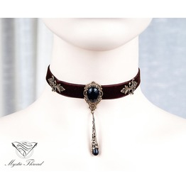 Brown Velvet Choker With Black Agate, Please Select Neck Perimeter(Cm)