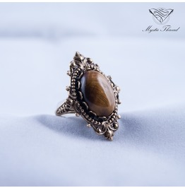 Tiger's Eye Gothic Victorian Vintage Ring