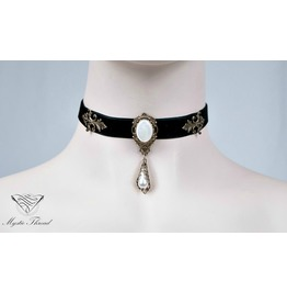 Black Velvet Choker With Mother Of Pearl, Please Select Neck Perimeter(Cm)