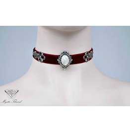 Burgundy Velvet Choker With Mother Of Pearl, Please Select Neck Perimeter