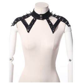 Steampunk Faux Leather Rivets Collar Shoulder Knot B21195