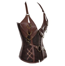 Steampunk Faux Leather Metal Chain Overbust Corsets 5401