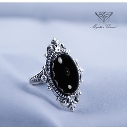 Jet Black Gem Gothic Victorian Ring