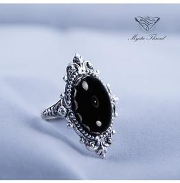 Jet Black Gem Gothic Victorian Ring