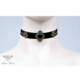 Black Velvet Choker With Jet Black Gem Contact Me For Neck Cm