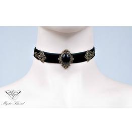 Black Velvet Choker With Black Agate, Please Select Neck Perimeter(Cm)