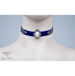 Purple Velvet Choker With Mother Of Pearl, Please Select Neck Perimeter(Cm)