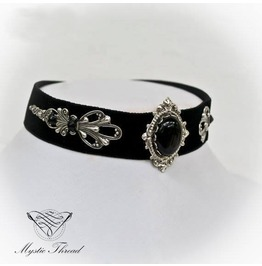 Black Velvet Choker With Black Agate, Please Select Neck Perimeter(Cm)