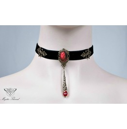 Black Velvet Gothic Choker With Ruby Gem