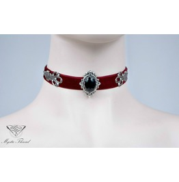 Burgundy Velvet Choker With Black Agate, Please Select Neck Perimeter(Cm)