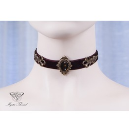 Brown Velvet Choker With Smoke Topaz Gem, Please Select Neck Perimeter(Cm)
