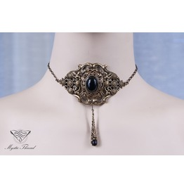 Jet Black Gem Elegant Victorian Choker, Please Select Neck Perimeter(Cm)