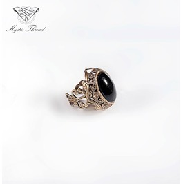 Jet Black Gem Victorian Vintage Ring