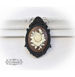 Black Ornate Brooch With Brown Flower Cabochon 30x40mm Gothic Brooch