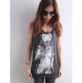 Alien Robot Fashion Pop Rock Tank Top Vest M