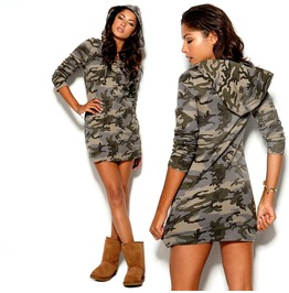 Military Camouflage Hoodied Mini Dress