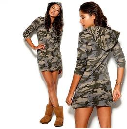 Military Camouflage Hoodied Mini Dress