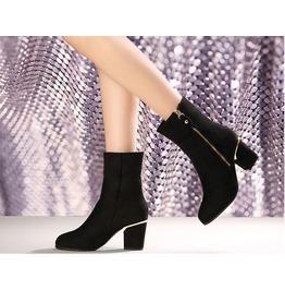 Side Zipper Gold Trim Thick High Heel Boots