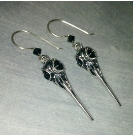 Raven Crow Skull Earrings