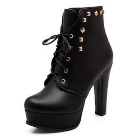 Lace Up Rivets Studded High Heel Boots