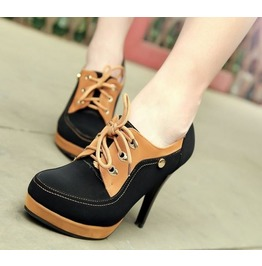 Black Brown High Heel Lace Up Boots