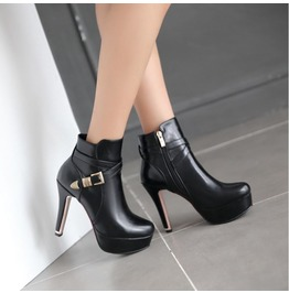 Elegant Side Zipper Buckle Strap High Heel Boots