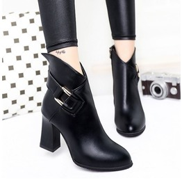 Elegant Pointed Toe Buckle Strap Thick High Heel Boots