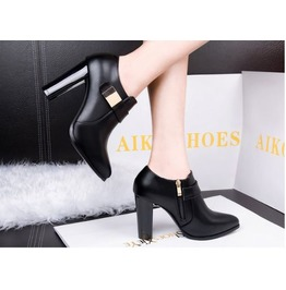 Thick High Heel Gold Metal Strap Boots