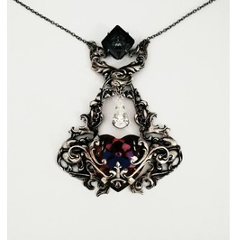 Silver Gothic Heart Necklace With Swarovski Crystal