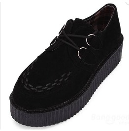 Egg N Chips London Womens Black Faux Suede Punk Rock Creepers