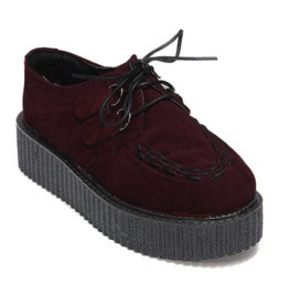 Egg N Chips London Womens Wine Red Faux Suede Punk Creepers