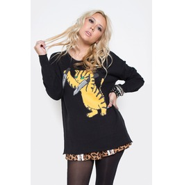Iron Fist Clothing Womens Black Stabby Cat Sweater