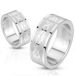 Tribal Pattern Two Tone Band Ring Stainless Steel