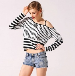 Sexy Off Shoulder Black And White Striped T Shirt